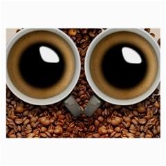 Owl Coffee Art Large Glasses Cloth (2 Side) by Nexatart