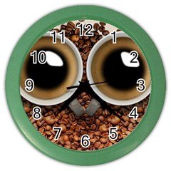 Owl Coffee Art Color Wall Clocks by Nexatart