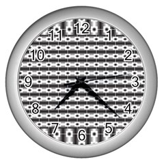 Pattern Background Texture Black Wall Clocks (Silver)