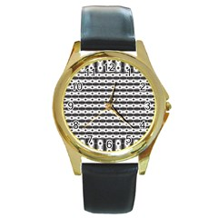 Pattern Background Texture Black Round Gold Metal Watch
