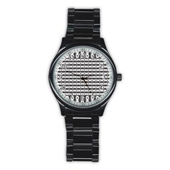 Pattern Background Texture Black Stainless Steel Round Watch