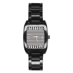 Pattern Background Texture Black Stainless Steel Barrel Watch