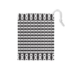 Pattern Background Texture Black Drawstring Pouches (Medium)