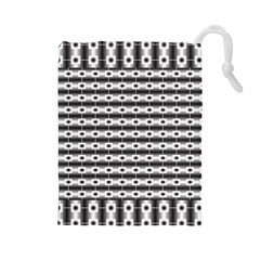 Pattern Background Texture Black Drawstring Pouches (Large)
