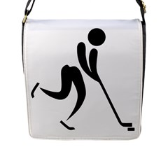 Ice Hockey Pictogram Flap Messenger Bag (l)  by abbeyz71