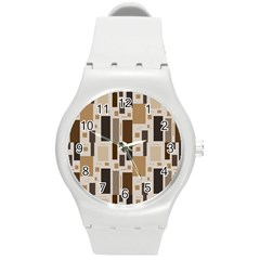 Pattern Wallpaper Patterns Abstract Round Plastic Sport Watch (m)