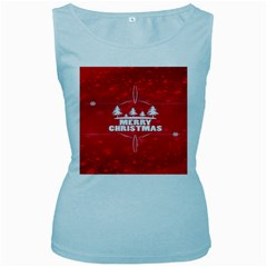 Red Bokeh Christmas Background Women s Baby Blue Tank Top by Nexatart