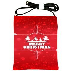 Red Bokeh Christmas Background Shoulder Sling Bags by Nexatart