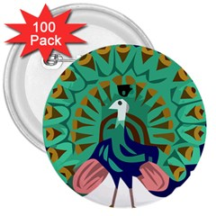 Burma Green Peacock National Symbol  3  Buttons (100 Pack)  by abbeyz71