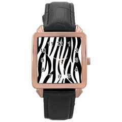 Seamless Zebra Pattern Rose Gold Leather Watch