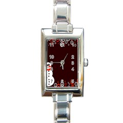 Snowman Holidays, Occasions, Christmas Rectangle Italian Charm Watch by Nexatart