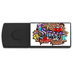Graffiti Word Characters Composition Decorative Urban World Youth Street Life Art Spraycan Drippy Bl Usb Flash Drive Rectangular (4 Gb)