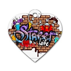 Graffiti Word Characters Composition Decorative Urban World Youth Street Life Art Spraycan Drippy Bl Dog Tag Heart (two Sides) by Foxymomma