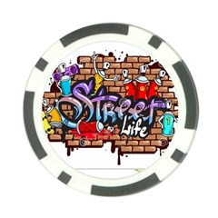 Graffiti Word Characters Composition Decorative Urban World Youth Street Life Art Spraycan Drippy Bl Poker Chip Card Guard by Foxymomma