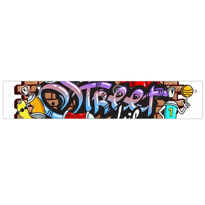 Graffiti Word Characters Composition Decorative Urban World Youth Street Life Art Spraycan Drippy Bl Flano Scarf (Large)