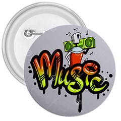 Graffiti Word Character Print Spray Can Element Player Music Notes Drippy Font Text Sample Grunge Ve 3  Buttons by Foxymomma