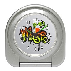 Graffiti Word Character Print Spray Can Element Player Music Notes Drippy Font Text Sample Grunge Ve Travel Alarm Clocks by Foxymomma