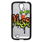 Graffiti Word Character Print Spray Can Element Player Music Notes Drippy Font Text Sample Grunge Ve Samsung Galaxy S4 I9500/ I9505 Case (Black) Front
