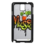 Graffiti Word Character Print Spray Can Element Player Music Notes Drippy Font Text Sample Grunge Ve Samsung Galaxy Note 3 N9005 Case (Black) Front