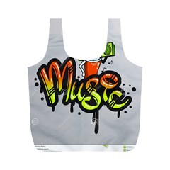 Graffiti Word Character Print Spray Can Element Player Music Notes Drippy Font Text Sample Grunge Ve Full Print Recycle Bags (m)  by Foxymomma