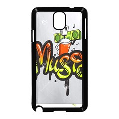 Graffiti Word Character Print Spray Can Element Player Music Notes Drippy Font Text Sample Grunge Ve Samsung Galaxy Note 3 Neo Hardshell Case (black)