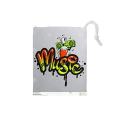Graffiti Word Character Print Spray Can Element Player Music Notes Drippy Font Text Sample Grunge Ve Drawstring Pouches (small)  by Foxymomma