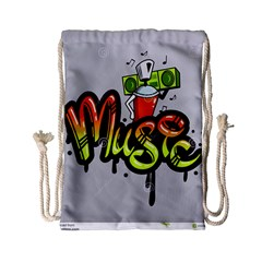 Graffiti Word Character Print Spray Can Element Player Music Notes Drippy Font Text Sample Grunge Ve Drawstring Bag (small) by Foxymomma