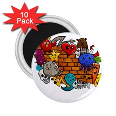 Graffiti Characters Flat Color Concept Cartoon Animals Fruit Abstract Around Brick Wall Vector Illus 2 25  Magnets (10 Pack)  by Foxymomma