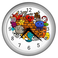 Graffiti Characters Flat Color Concept Cartoon Animals Fruit Abstract Around Brick Wall Vector Illus Wall Clocks (silver)  by Foxymomma