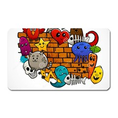 Graffiti Characters Flat Color Concept Cartoon Animals Fruit Abstract Around Brick Wall Vector Illus Magnet (rectangular) by Foxymomma