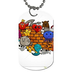 Graffiti Characters Flat Color Concept Cartoon Animals Fruit Abstract Around Brick Wall Vector Illus Dog Tag (one Side) by Foxymomma