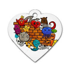 Graffiti Characters Flat Color Concept Cartoon Animals Fruit Abstract Around Brick Wall Vector Illus Dog Tag Heart (one Side) by Foxymomma