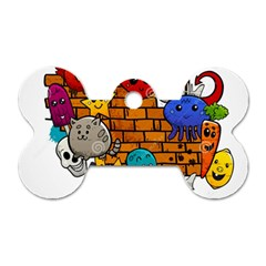 Graffiti Characters Flat Color Concept Cartoon Animals Fruit Abstract Around Brick Wall Vector Illus Dog Tag Bone (two Sides) by Foxymomma