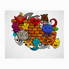 Graffiti Characters Flat Color Concept Cartoon Animals Fruit Abstract Around Brick Wall Vector Illus Small Glasses Cloth (2-side) by Foxymomma