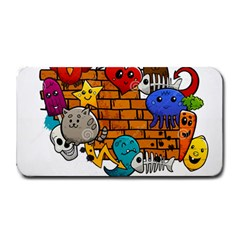 Graffiti Characters Flat Color Concept Cartoon Animals Fruit Abstract Around Brick Wall Vector Illus Medium Bar Mats by Foxymomma