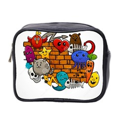 Graffiti Characters Flat Color Concept Cartoon Animals Fruit Abstract Around Brick Wall Vector Illus Mini Toiletries Bag 2 Side by Foxymomma