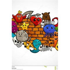 Graffiti Characters Flat Color Concept Cartoon Animals Fruit Abstract Around Brick Wall Vector Illus 5 5  X 8 5  Notebooks by Foxymomma