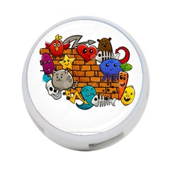 Graffiti Characters Flat Color Concept Cartoon Animals Fruit Abstract Around Brick Wall Vector Illus 4 Port Usb Hub (two Sides)  by Foxymomma