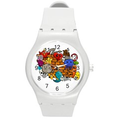 Graffiti Characters Flat Color Concept Cartoon Animals Fruit Abstract Around Brick Wall Vector Illus Round Plastic Sport Watch (m) by Foxymomma