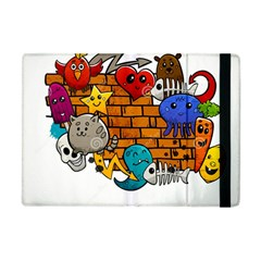 Graffiti Characters Flat Color Concept Cartoon Animals Fruit Abstract Around Brick Wall Vector Illus Apple Ipad Mini Flip Case