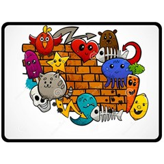 Graffiti Characters Flat Color Concept Cartoon Animals Fruit Abstract Around Brick Wall Vector Illus Double Sided Fleece Blanket (large)  by Foxymomma