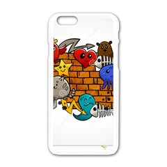 Graffiti Characters Flat Color Concept Cartoon Animals Fruit Abstract Around Brick Wall Vector Illus Apple Iphone 6/6s White Enamel Case by Foxymomma