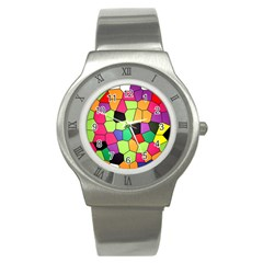 Stained Glass Abstract Background Stainless Steel Watch by Nexatart