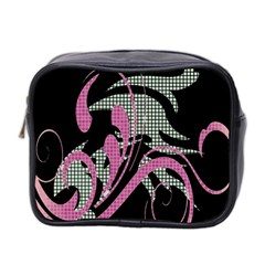 Violet Calligraphic Art Mini Toiletries Bag 2-side