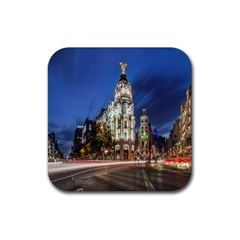 Architecture Building Exterior Buildings City Rubber Square Coaster (4 Pack)