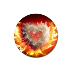 Arts Fire Valentines Day Heart Love Flames Heart Magnet 3  (round)