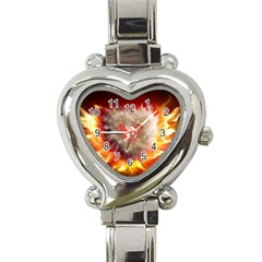 Arts Fire Valentines Day Heart Love Flames Heart Heart Italian Charm Watch by Nexatart