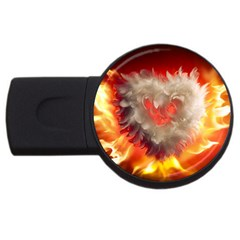 Arts Fire Valentines Day Heart Love Flames Heart Usb Flash Drive Round (4 Gb)