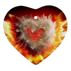 Arts Fire Valentines Day Heart Love Flames Heart Heart Ornament (two Sides) by Nexatart
