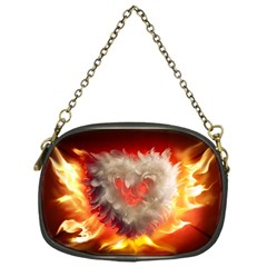 Arts Fire Valentines Day Heart Love Flames Heart Chain Purses (one Side)  by Nexatart